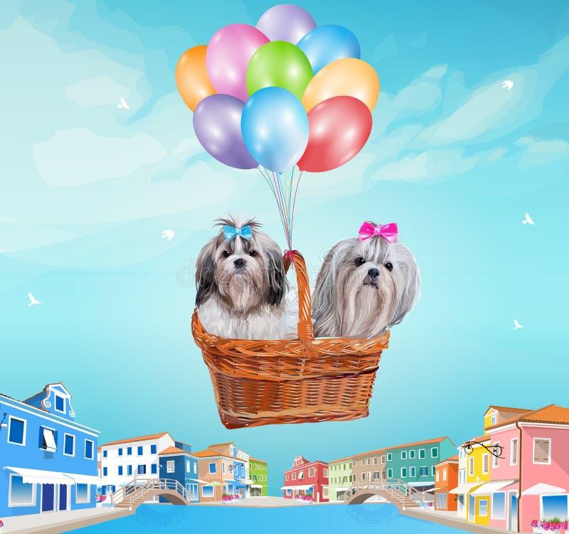 Собаки в корзине бесплатная иллюстрация