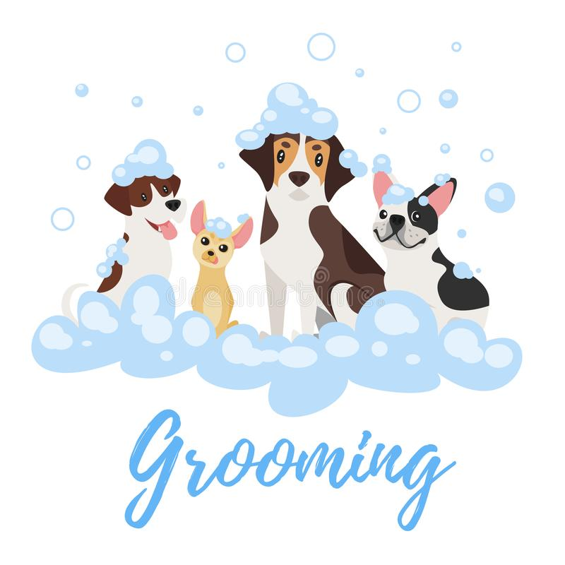 Собаки в пене мыла бесплатная иллюстрация