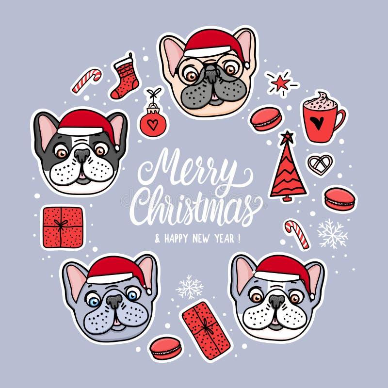 Собаки в шляпах веселого рождества Рамка карты с литерностью Дизайн праздника иллюстрации вектора Стикеры руки французского бульд иллюстрация вектора