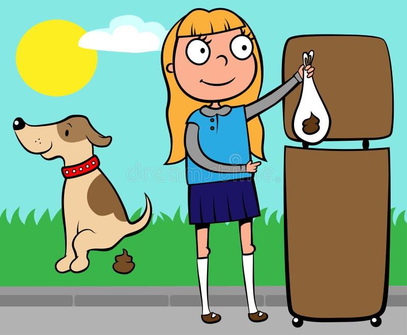 собаки девушки бросать школы poo s вне бесплатная иллюстрация