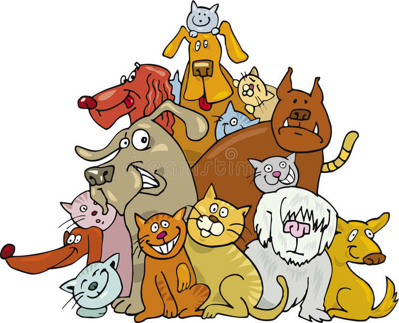 собаки котов иллюстрация вектора