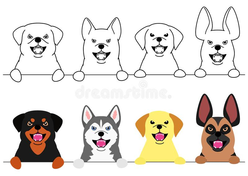 Собаки лаять большие в ряд бесплатная иллюстрация