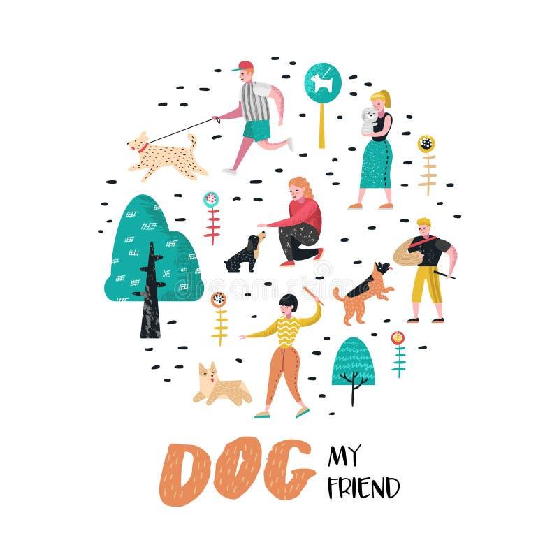 Собаки людей тренируя в парке Doodle собаки Характеры идя снаружи с любимчиками иллюстрация вектора