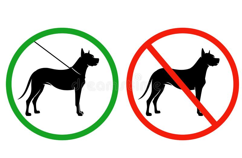 Собаки на позволенном поводком наборе signage вектора бесплатная иллюстрация
