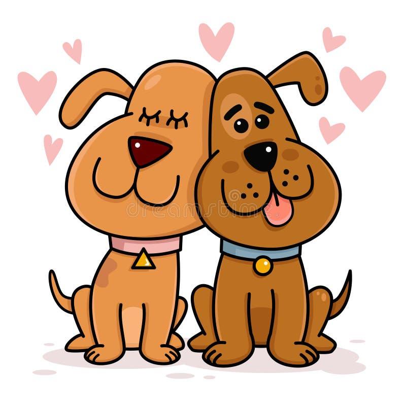 Собаки соединяют в влюбленности иллюстрация штока