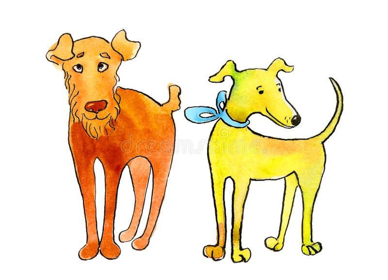 Собаки, терьер Fox и итальянская борзая иллюстрация вектора