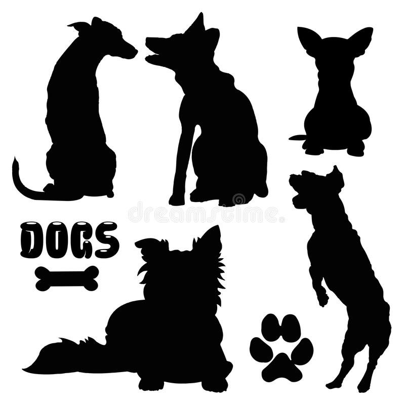 Собаки, черный силуэт - собрание вектора иллюстрация штока