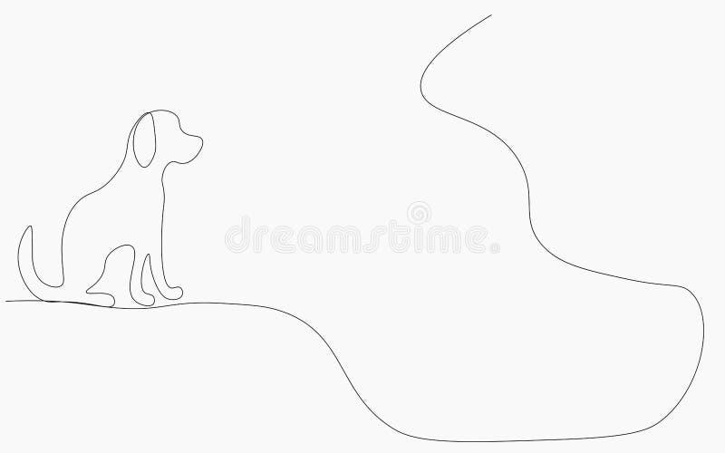 Собач силуэт одна линия рисование векторной иллюстрации иллюстрация штока