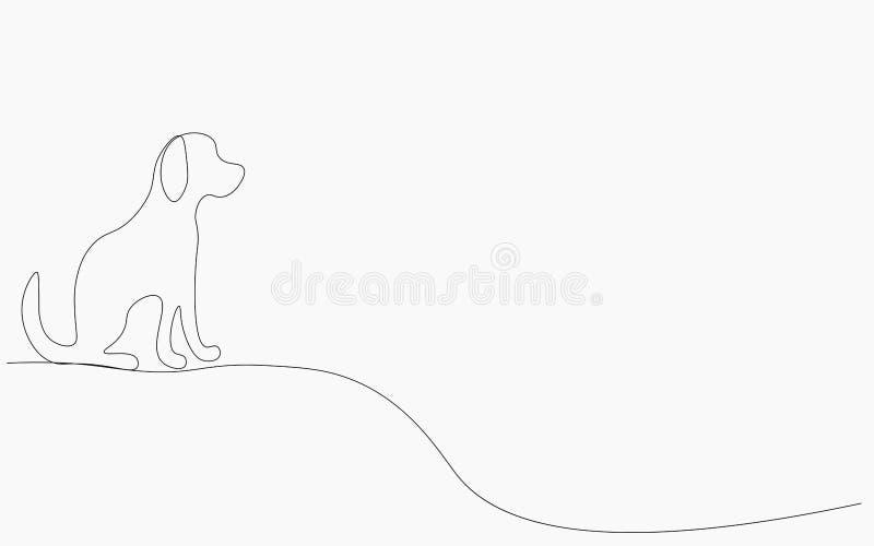 Собач силуэт одна линия рисование векторной иллюстрации бесплатная иллюстрация