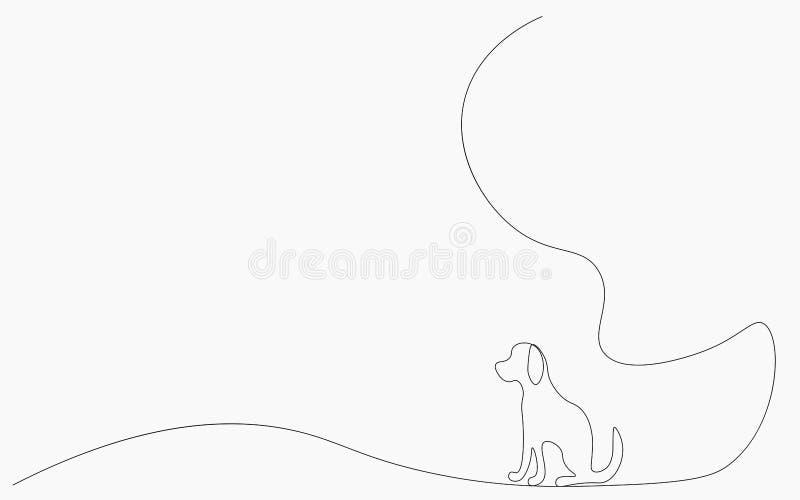 Собач силуэт одна линия рисование векторной иллюстрации иллюстрация вектора