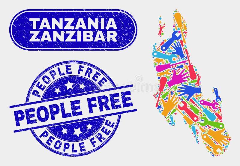 Соберите карту острова Занзибара и огорчите уплотнения людей свободные иллюстрация вектора