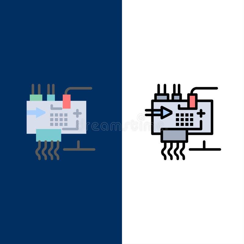 Соберите, подгоняйте, электроника, инженерство, значки частей Квартира и линия заполненный значок установили предпосылку вектора  иллюстрация вектора