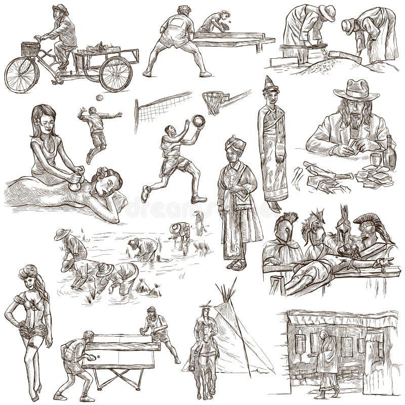 соберите людей Freehands, рука нарисованное собрание Линия искусство иллюстрация вектора