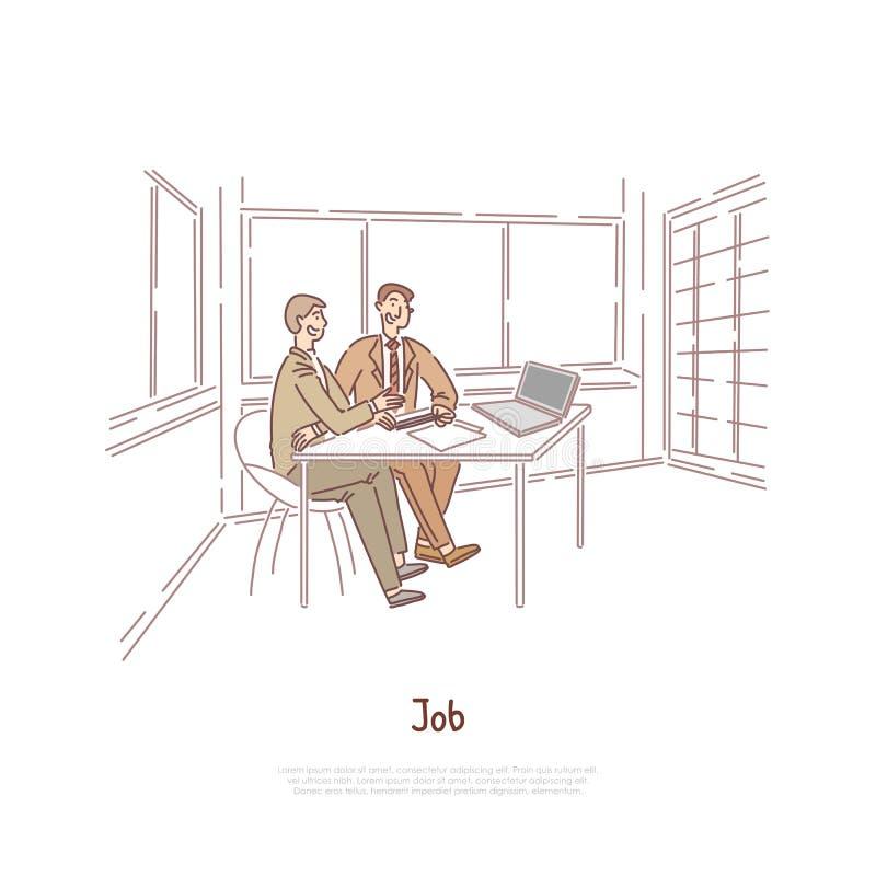 Собеседование для приема на работу, работодатель и выбранный обсуждая трудовой договор, деловые партнеров, работников коллективно иллюстрация вектора
