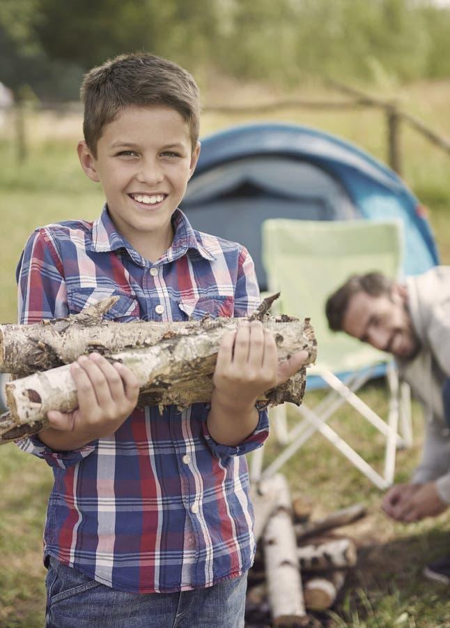 Собирать древесину для лагерного костера стоковое изображение