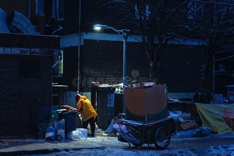 Собирать утили картона в зимней ноче стоковое изображение rf