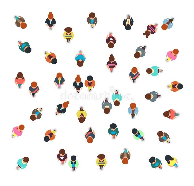 Собирающ люди собирают взгляд сверху, идя людей и женщин, социальную изолированную иллюстрацию вектора толпы иллюстрация вектора