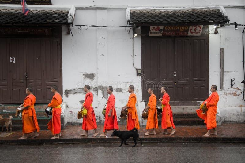 Собирающ luang милостынь praban стоковая фотография