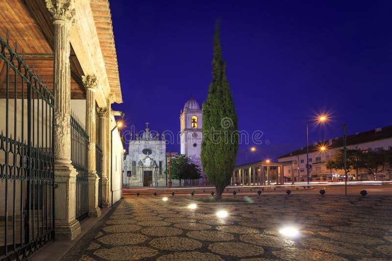 Собор Авейру известный к ночи в Португалии стоковые фотографии rf
