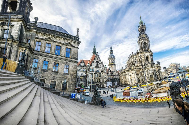 Собор Дрездена, замок Дрездена и Numismatic шкаф, дворец стоковое фото