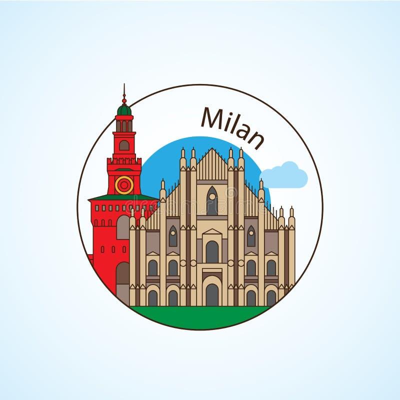 Собор и La Scala Милана - символ Милана, Италии детализировал силуэт Ультрамодная иллюстрация вектора иллюстрация штока