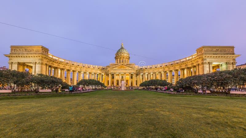Собор Казани или собор нашей дамы Казани на ноче, Sain стоковое фото rf