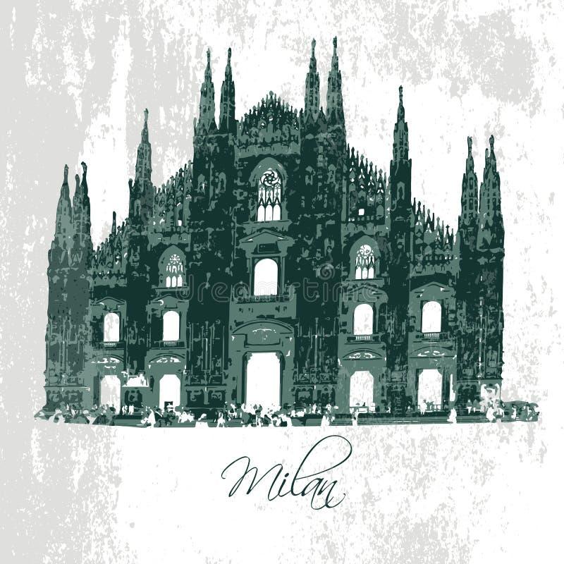 Собор Милана Готское зодчество вектор иллюстрация вектора