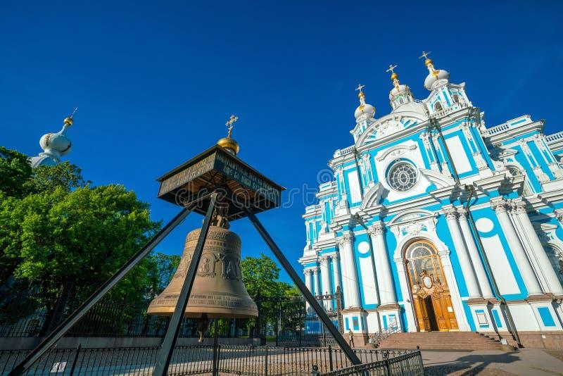 Собор монастыря Novodevichiy Smolniy воскресения стоковое фото rf