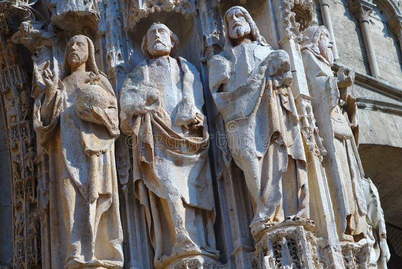 Собор Нотр-Дам Руана Строка статуй на фасаде стоковая фотография rf