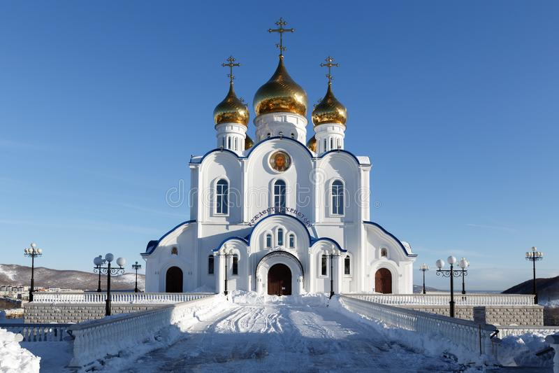 Собор Петропавловск, епархия святой троицы правоверный Камчатского полуострова Русской православной церкви стоковое фото