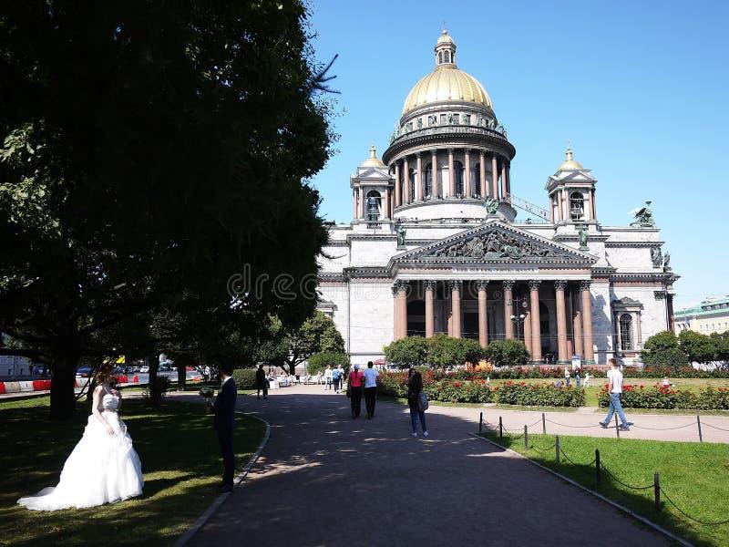 Собор Санкт-Петербург St Исаак Столица моря России Детали и конец-вверх стоковое фото rf