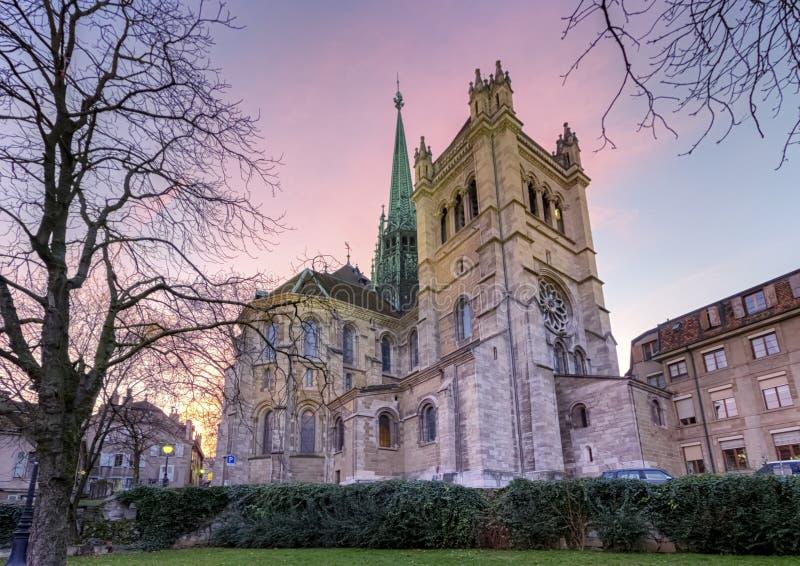 Собор Святого Петра в Женеве, Швейцарии стоковые изображения rf