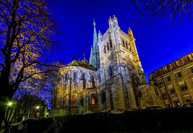 Собор Святого Петра в Женеве, Швейцарии стоковое фото rf