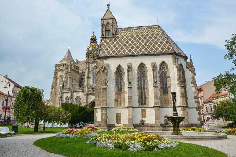 Собор Святой Елизаветы в старом городе Косице на востоке Словакии стоковое изображение