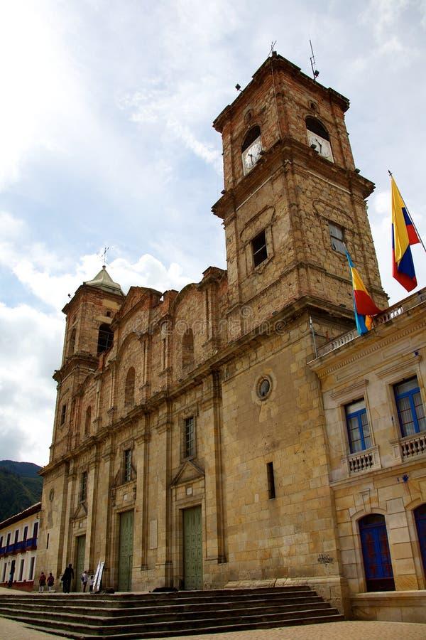 Собор святой троицы и Святого Антония Падуи на Zipaquira стоковое фото rf