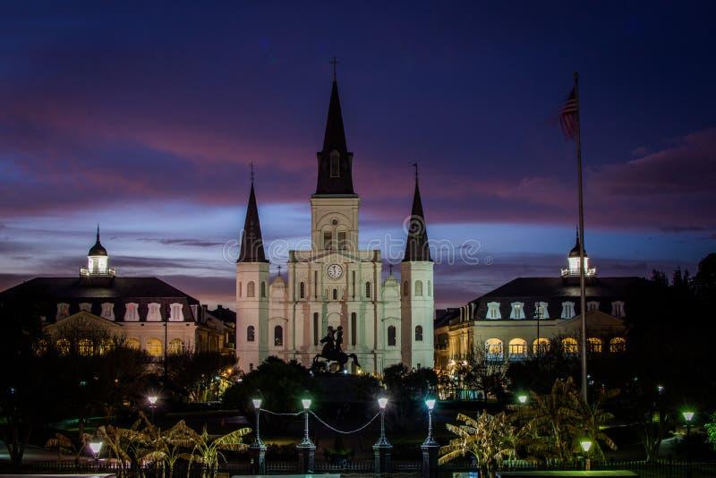 Собор Сент-Луис в квадрате Джексона в Новом Орлеане, Луизиане стоковая фотография