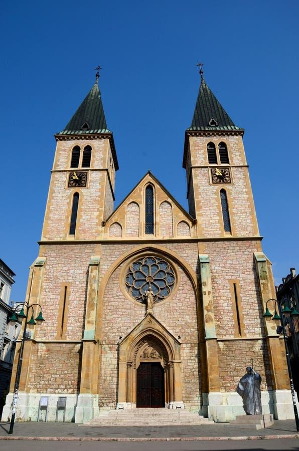 Собор сердца католика священный в старом городке Боснии Hercegovina Сараева стоковая фотография