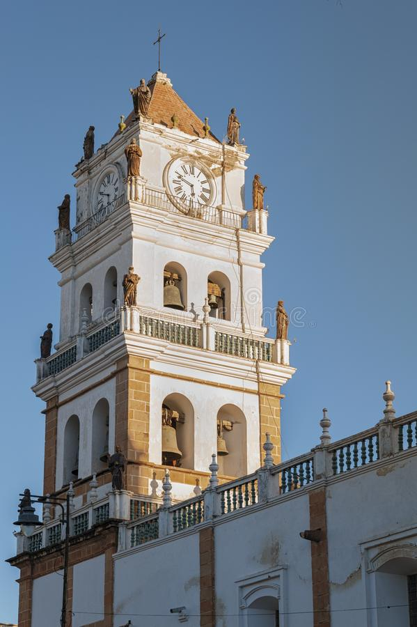 Собор собора Сукре столичный Сукре на квадрате de Mayo площади 25 в Сукре, Боливии стоковое фото rf
