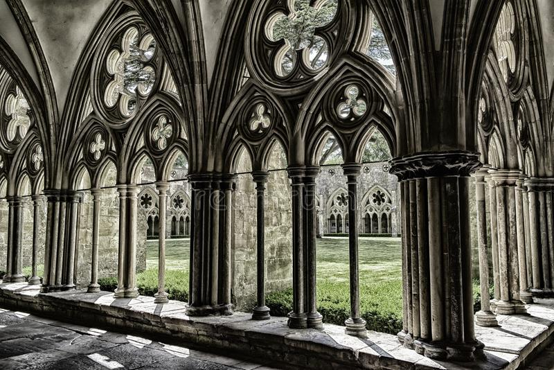 Собор Солсбери, agnificent геометрическая картина средневекового искусства стоковые фотографии rf