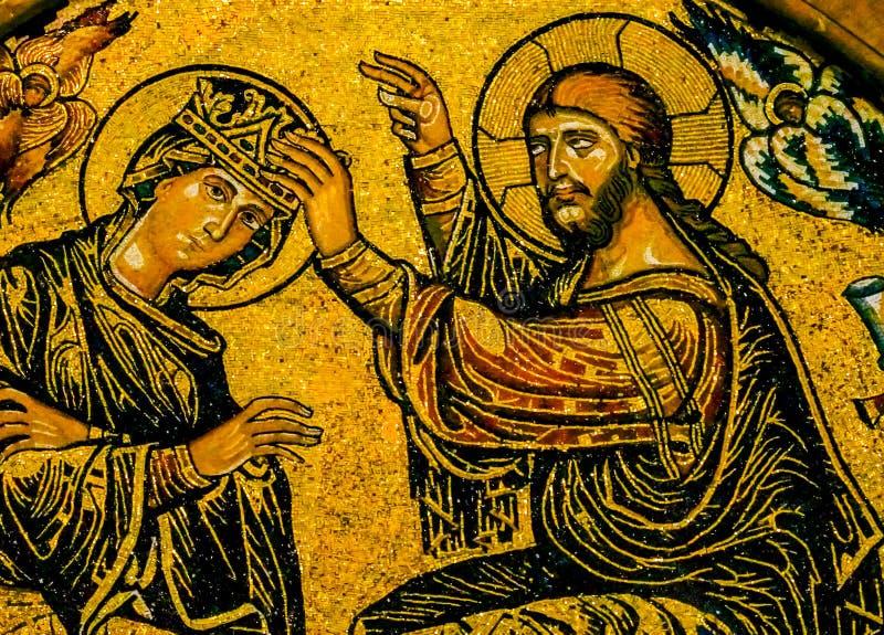 Собор Флоренс Duomo мозаики девственницы коронования Gaddi Иисуса оно стоковое фото