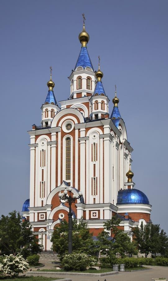 Собор Dormition в Хабаровск Россия стоковое фото