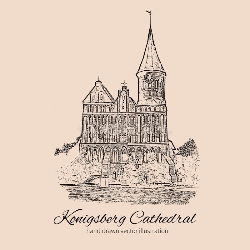 Собор Konigsberg, ориентир ориентир города Калининграда, России, церков собора на острове Kant, главным образом символ  бесплатная иллюстрация