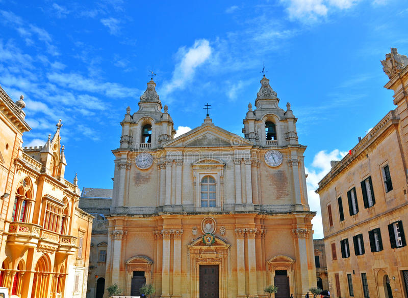 Собор Mdina, Мальты стоковое изображение rf