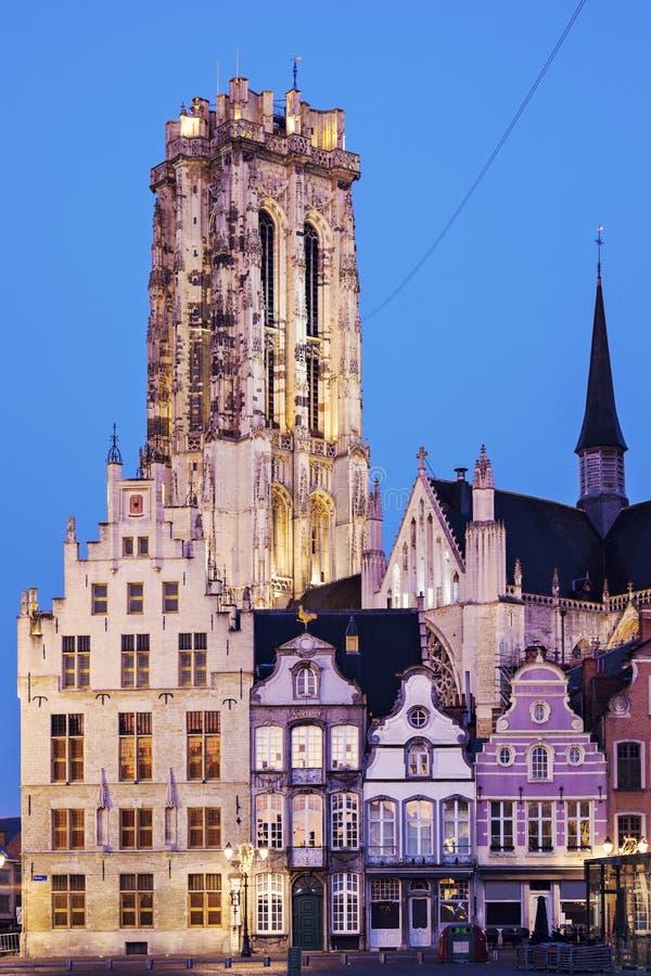 Собор Rumbold Святого в Mechelen стоковая фотография rf