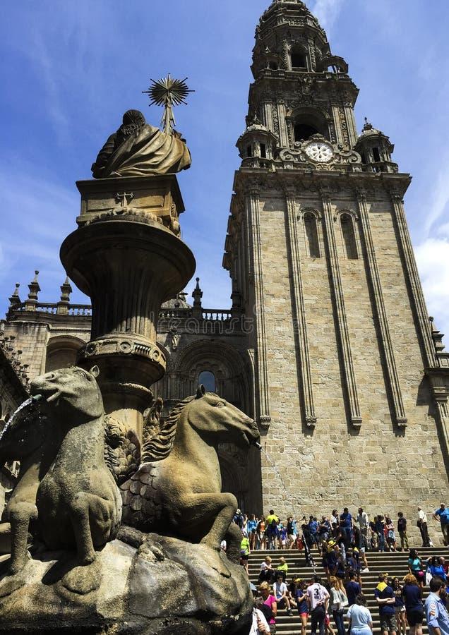 Собор Santiago de Compostela в Галиции, Испании стоковое изображение rf