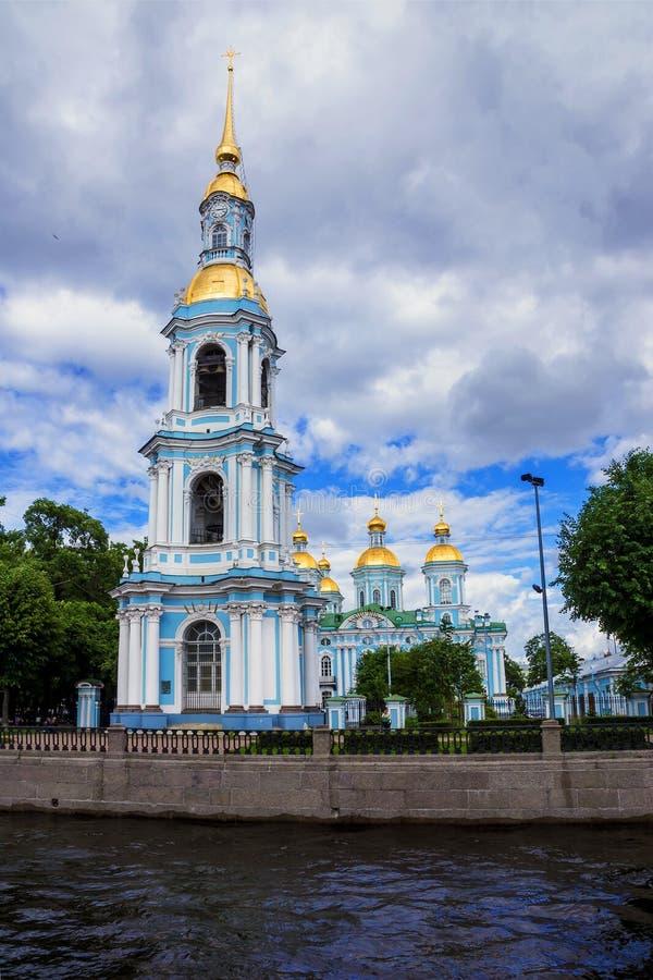 Собор St Nicholas военноморской в Санкт-Петербурге, России стоковые фотографии rf