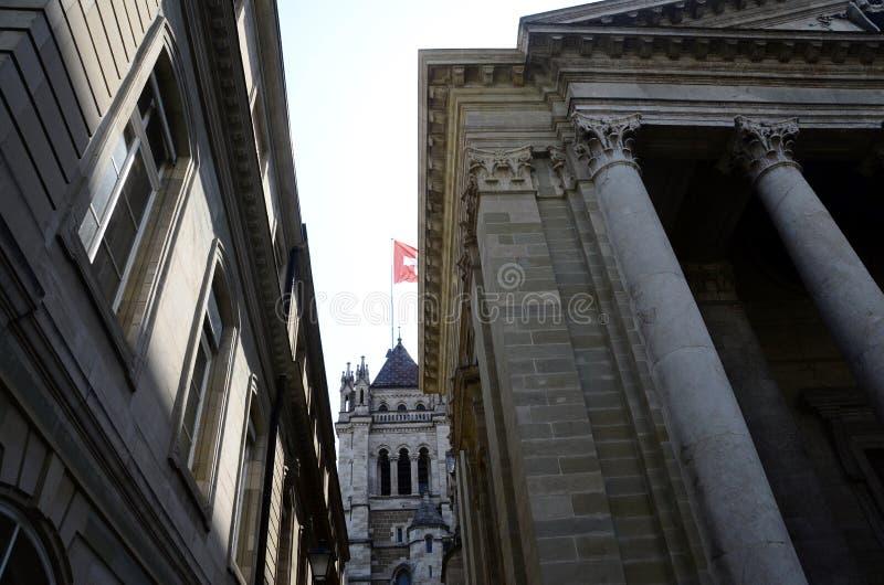 Собор St Pierre: Архитектура в Женеве стоковое изображение rf