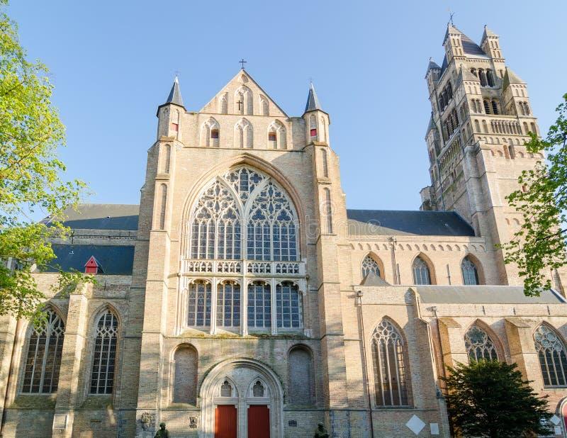Собор St Salvator в Брюгге стоковые фото
