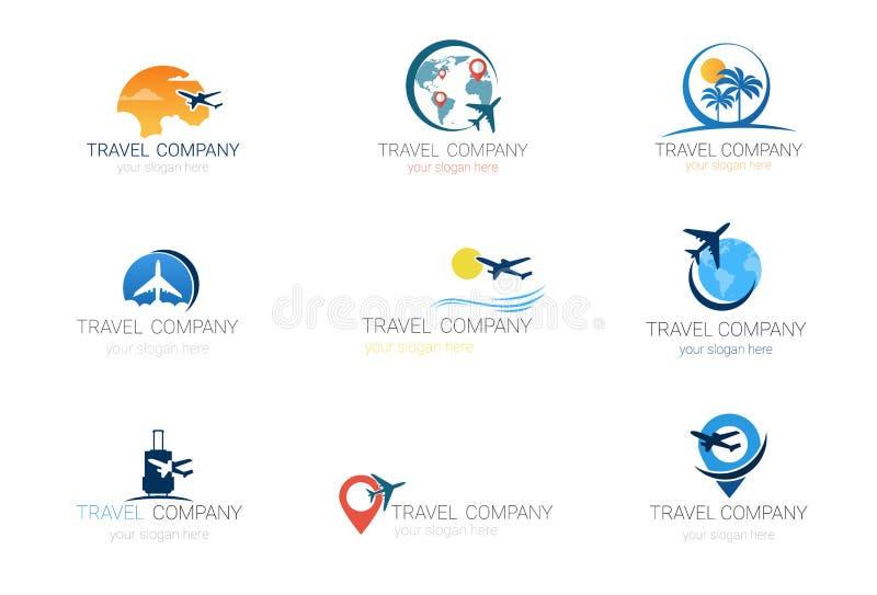 Собрание агенства туризма шаблона компании перемещения установленное логотипами дизайна знамени иллюстрация вектора