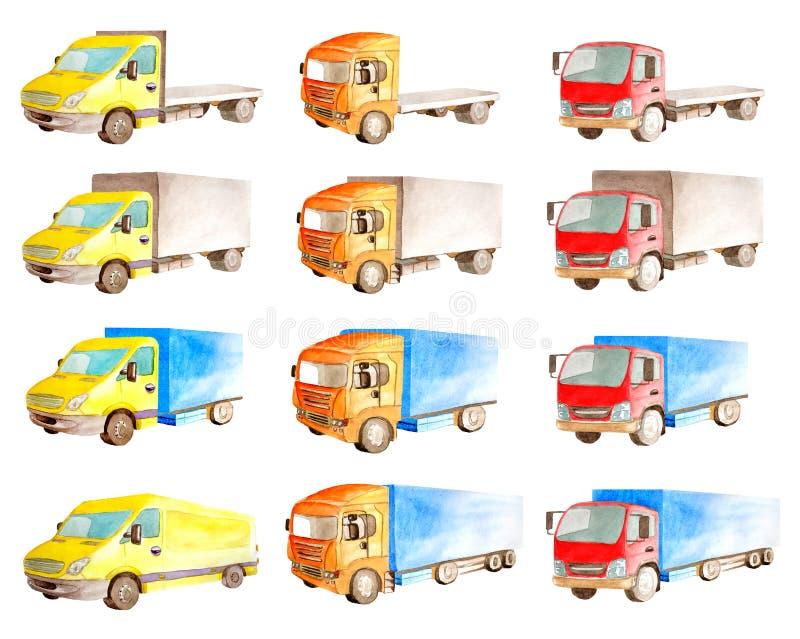 Собрание акварели установленное тележек кораблей, грузовиков, фургонов в других цветах, печатает в белой предпосылке бесплатная иллюстрация